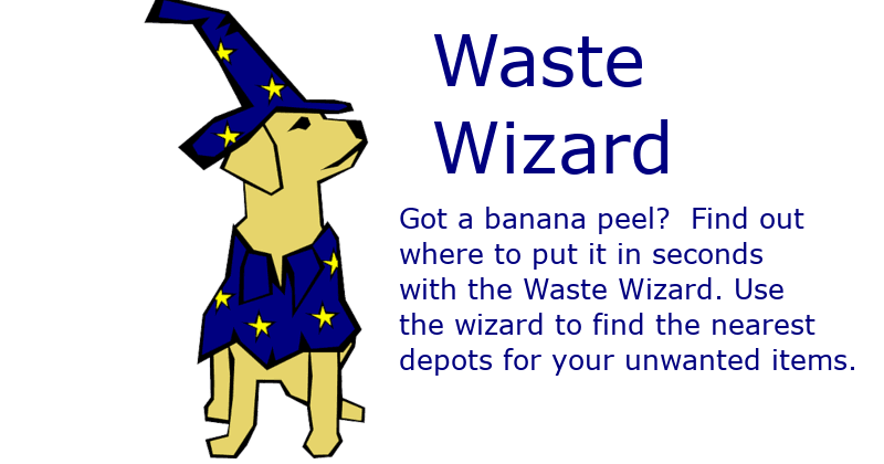 Waste Wizard Dog with Link to the Waste Wizard App
